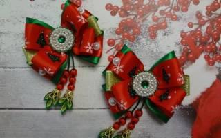 Проще некуда: рождественские бантики в технике канзаши своими руками